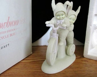 Dept 56 Snowbunnies, Limited Edition figurines, Porcelain Bisque Snow Babies, Box Foam and Booklet Included, Snow bunny Collectible,