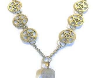 Pentagram Crystal Necklace,pentagram necklace,healing crystals and stones, Crystal necklace