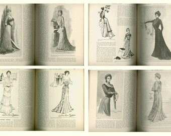 1900 Harper's Bazar Weekly Magazine, Irish Women, Autumn Flowers, Fashions for Adults and Girls, Ethel & Guy Rose,  Antique Periodical