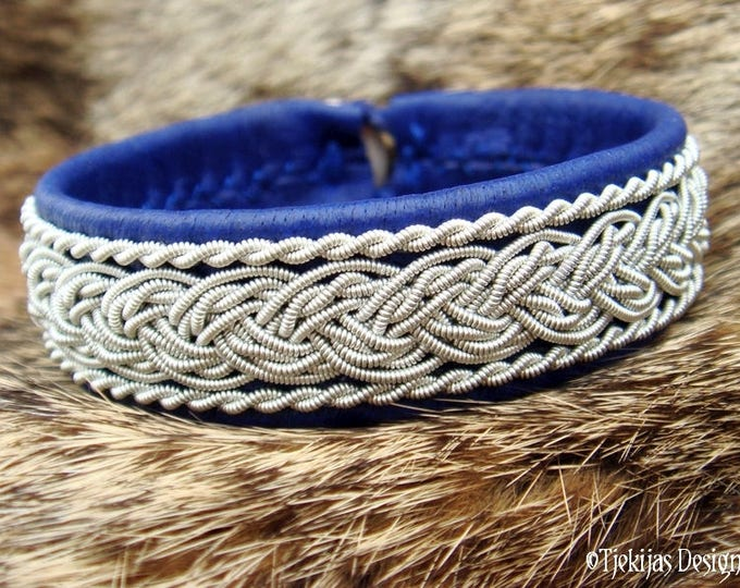 Swedish Viking Sami Pewter Lapland Leather Bracelet Cuff Bangle GRANI in Blue Reindeer Handmade for Men and Women