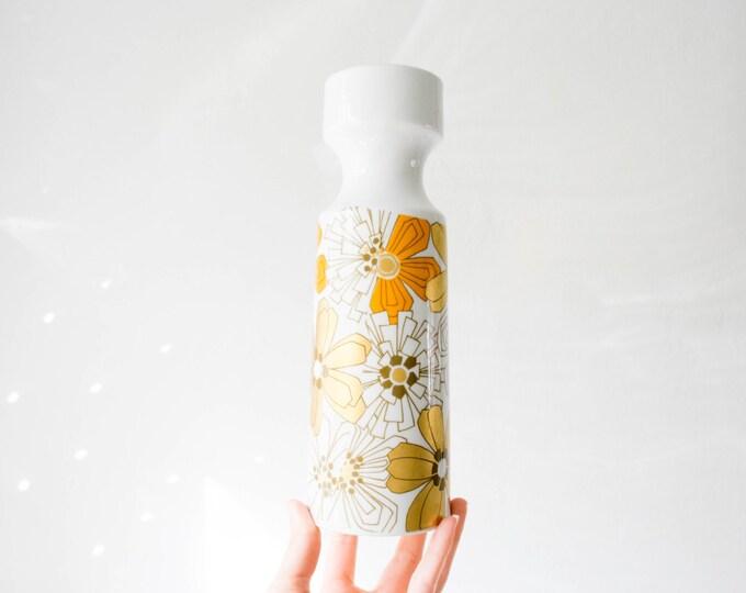 Mid Century Colorful Orange and Gold Glazed White Porcelain Botanical Vase // Jaeger West Germany