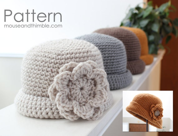 Quick Crochet Flower Pattern : Quick & Easy Crochet PATTERN Tupelo Flower Hat for all 5