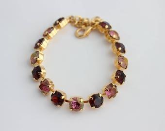 Swarovski Purple bracelet, Swarovski bracelet, Purple and Burgundy bracelet, Rhinestone bracelet,bridesmaid bracelet, burgundy wedding lilac