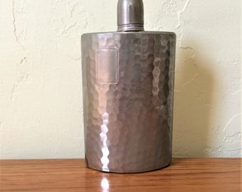 Vintage Hip Flask Curved Made In Germany Tin Lined, Hammered Chrome ? U.S. Zone, German Hip Flask 1940s WWII