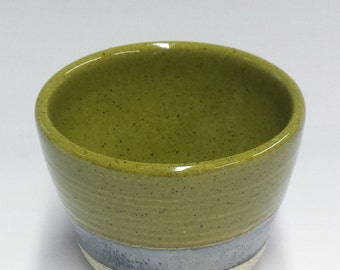Handmade Ceramic Bowl - Deep Olive Green | Chrome with Black Washed Finish