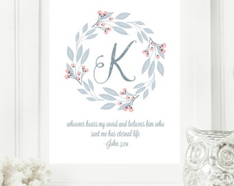 "Instant Monogram Scripture Wall Art Print 8x10 Typography Letter ""K"" Printable Home Decor"