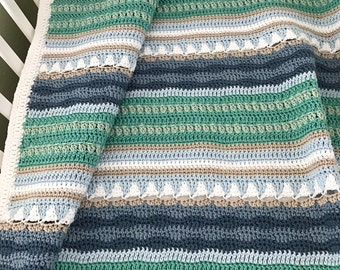 Crochet Baby Blanket Pattern - Sailboats Baby Blanket Pattern - EASY CROCHET pattern - Crochet Blanket - Crochet Patterns by Deborah O'Leary