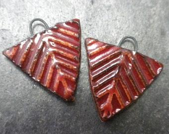 Cinnabar Chevron- handmade ceramic tribal triangle rustic earring charm pair 3710