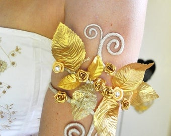 Gold flower and leaves upper arm cuff