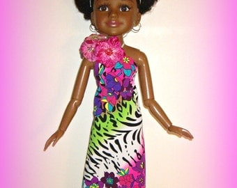 "Hawaiian Hibiscus Maxi Dress, Handmade to fit 18"" BFC Ink Dolls by traveller240, Best Friends Club Doll Halter Dress in Multicolor Floral"
