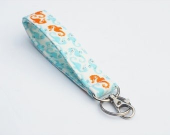 Seahorse Keychain, Key Fob, Wristlet Lanyard, Fabric Wristlet, Aqua and Orange