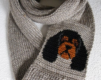Cavalier Spaniel scarf. Knit infinity scarf with black and tan Cavalier King Charles dogs. Knitted dog scarf