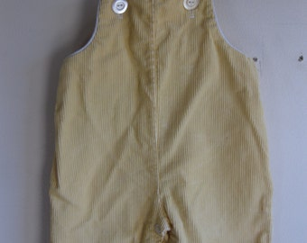 1960s Yellow Corduroy Baby Overalls 6 Months