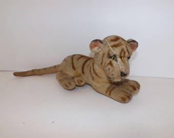 Vintage 1940s 1950s large tiger big cat soft toy straw filled animal