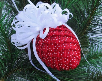 Fabric Pinecone Ornament - Red Satin w/White Polka Dots - Christmas Ornament, Stocking Stuffer, Co-Worker Gift, Ornament Exchange