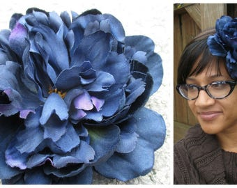 Midnight blue peony, XL, Large, blue hair flower