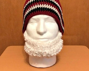 Crochet Beard Hat, White Beard, Adult Size, Teen Size, With OR Without Mustache, Burgundy and Grey Beanie, Gray Stripes, Bama, Ready to Ship