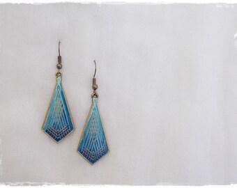 Sea Blue Earrings, Ombre Geometric Earrings, Brass Tribal Earrings, Diamond Brass Earrings, Yoga Minimal Earrings, Ethnic Ombre Earrings