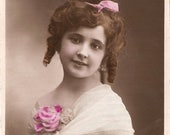 French Postcard Pretty Girl with Ringlets & Pink Rose Antique Photo Post Card RPPC from Vintage Paper Attic