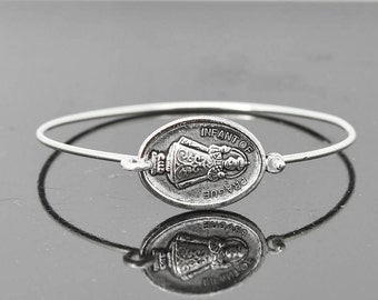 Infant of Prague Bangle, Infant Prague Jewelry, Infant Prague Bracelet, Sterling Silver Bangle, Bracelet, Christian Jewelry,Catholic Jewelry