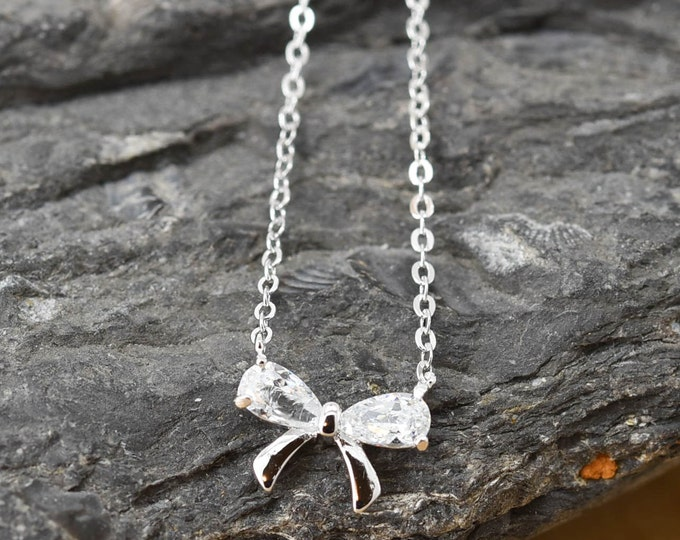 Bow Necklace, Bow Pendant, 925 Sterling Silver, Crystal Necklace Pendant, Bridesmaid Gift, Bridesmaid Necklace