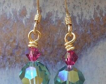 Swarovski Erinite & Fuchsia Crystal Earrings