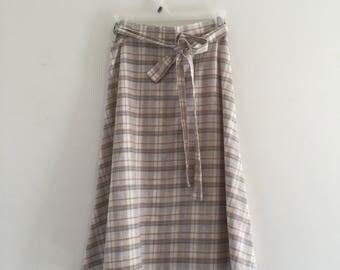 Vintage 70's Desert Colors Plaid Wrap Skirt S M