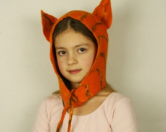 Cat Inspired felted Hat - Ginger cat costume - Tiger Felted carnival hat - Animal felted hat - Carnival costume hat - Party fancy hat