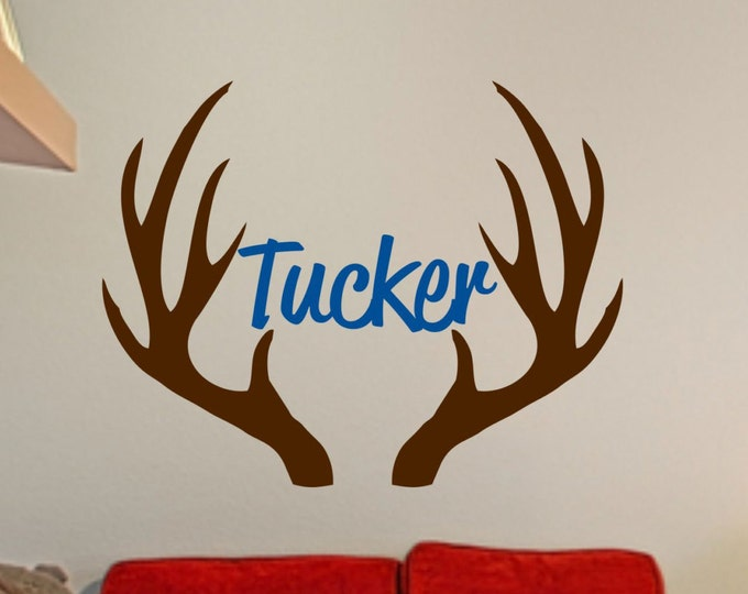 Custom Name In Between Antlers // Boys Bedroom // Man Cave Wall Decal // Hunter Wall Decal