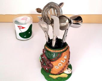 70s GOLFER'S Bar Accessories  - Vintage Bar Set - Stainless Steel Bar Implements - Father's Day Gift