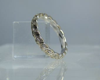 18k White Gold Diamond Eternity Band Ring Size 6.25 True Complete Eternity Ring in Excellent Condition DanPickedMinerals