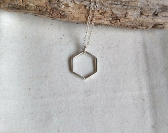 Silver Hexagon Necklace - Hexagon Pendant Necklace - Geometric Jewelry - Layering Necklace - Simple Modern Lightweight - Silver Jewellery