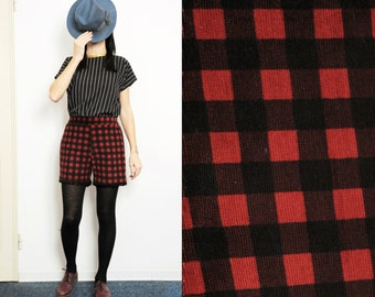 Handmade checked black and red corduroy shorts with pom poms edging [winter icecream]