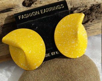 Yellow Fortune Cookie Post Earrings, Large Vintage Yellow Earrings