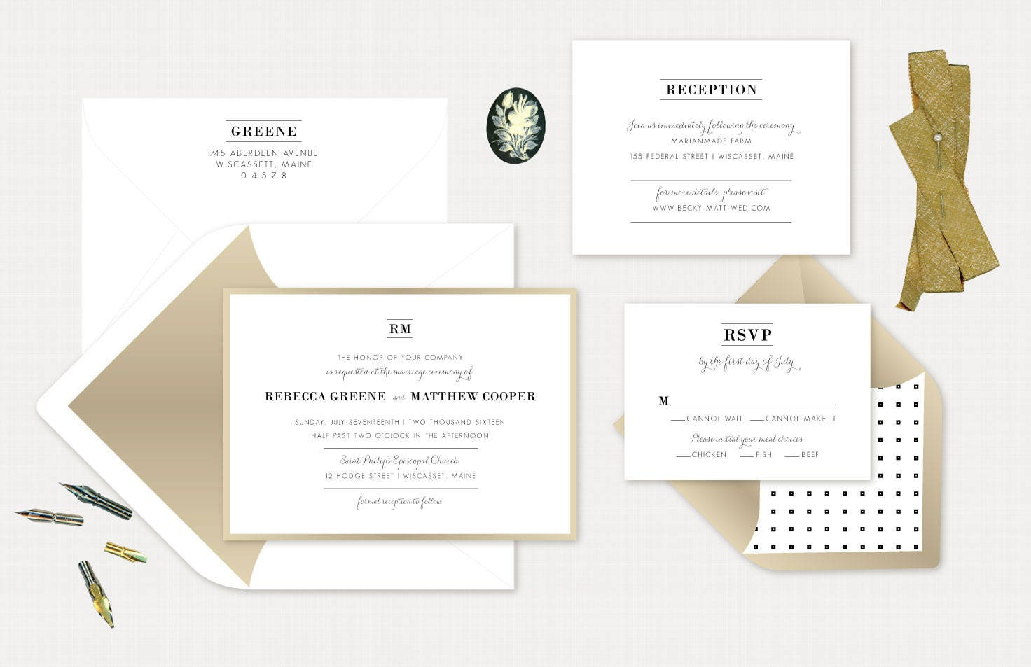 Traditional Elegant Wedding Invitations: Traditional Wedding Invite Elegant Gold Invitation. Classic