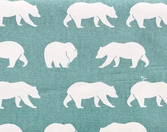 Fabric Organic Canvas White Bear Print Mineral Blue Color Birch Organics Eco