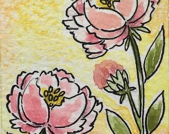 Pink Peony Watercolour, ACEO Original Art, Watercolor