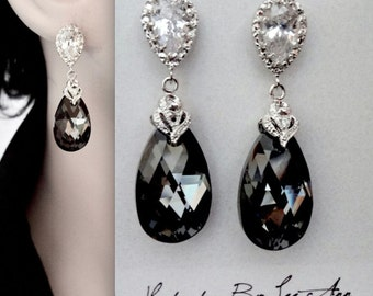 Black crystal earrings ~ Swarovski, silver night, crystal earrings ~ Frameless,teardrops ~ Sterling silver posts ~ Wedding,Bridal jewelry
