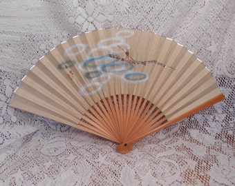 Vintage Folding Hand Fan Paper and Wood Boat Scene Advertising on Back Fan D
