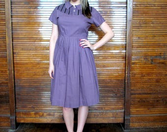 Vtg 50s 60s Trim Teen Dress