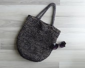 Vintage 80's Coffee Brown Woven Straw Tote Bag