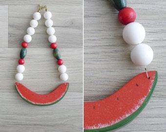 Vintage 80's 'Watermelon' Red & Green Wooden Bib Necklace