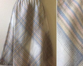 1970s plaid skirt, 1980s plaid skirt, plaid aline skirt, vintage XL skirt, plus size skirt, wool midi skirt, elastic waistband skirt, blue