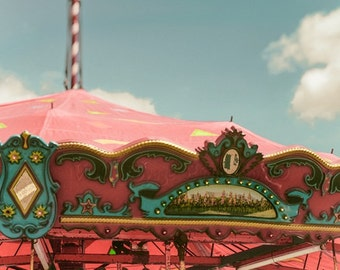 Carousel Photo, County Fair Photography, Pink And Aqua Print, Girls Room Decor, Carnival Ride Photo, Carousel Print, Summer Photo, Wall Art