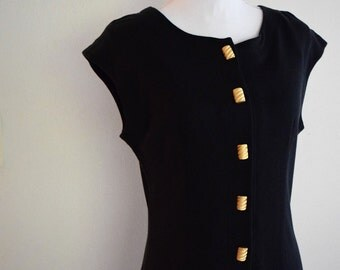 salvation armani vintage dress - black dress - sleeveless black dress - vintage size 12 - womens vintage dress with gold buttons - lanz