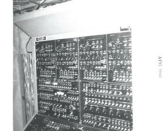 "Vintage Snapshot ""Flip That Switch"" Machine Toggle Switches 1966 Mechanical Work Found Vernacular Photo Black & White Photograph"