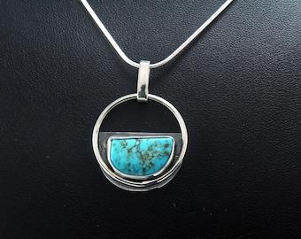 Turquoise Halo Half Moon Pendant-Kingman Arizona Turquoise- Sky blue turquoise cabochon 6.3 carats- sterling silver pendant-southwest style