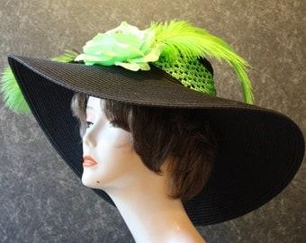 NEW LOWER PRICE! Kentucky Derby Hat, Garden Party Hat, Tea Party Hat, Easter Hat, Church Hat, Wedding Hat, Derby Hat, hat Black Hat 336