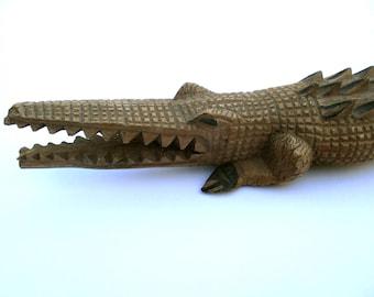 Primitive Folk Art Alligator, Wood Carving, Sculpture, American Wood Sculpture, Art Brut, one-of-a-kind, Outsider Art, Gator, Crocodile