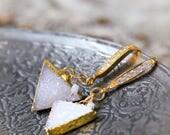 White Druzy and Rough Diamond Earrings - Geometric Triangle Earrings - Modern White Druzy Earrings